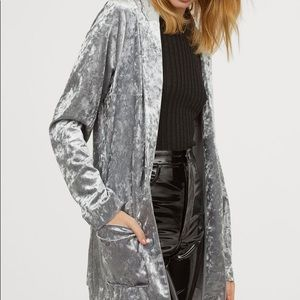H&M grey crushed velour open light jacket M